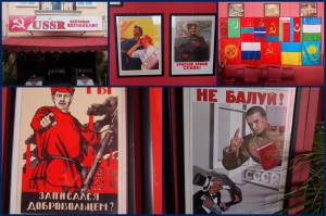Russians are in Telaga. A collection of posters at the Russian restaurant