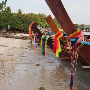 Toursit boats lined up in Ko Pi Pi Don