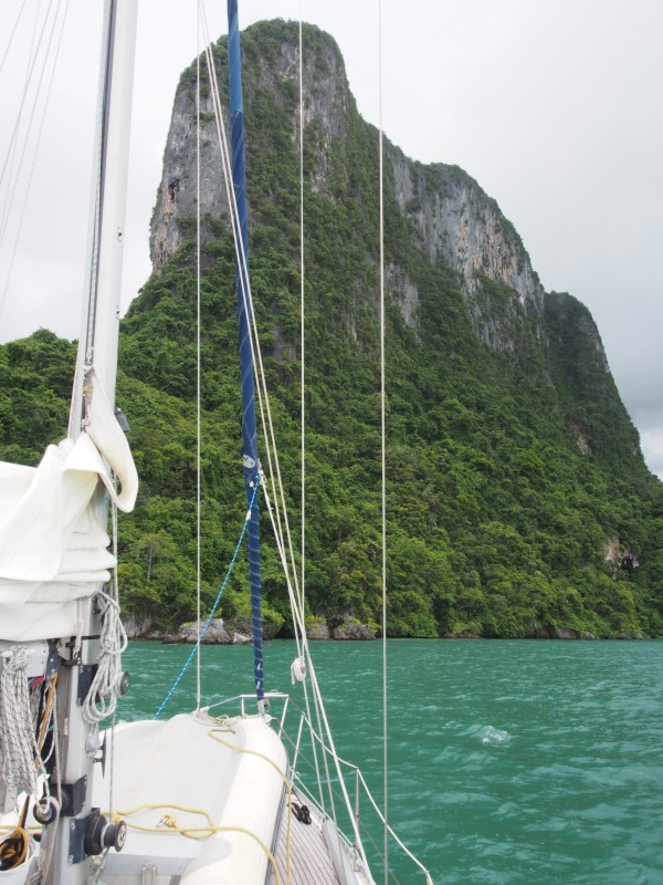 The stunning limestone cliffs of Phaetra towering above our anchorage