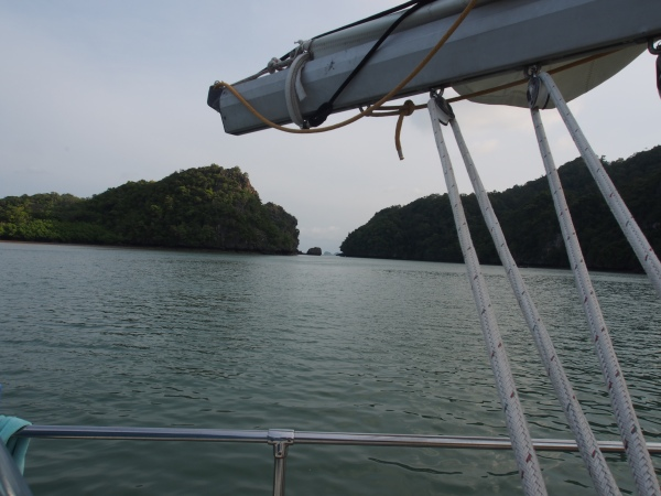 Ko Bulan anchorage looking north to the entrance we used. Narrow yes - only 12 metres wide but gives access to one of our favourite anchorages