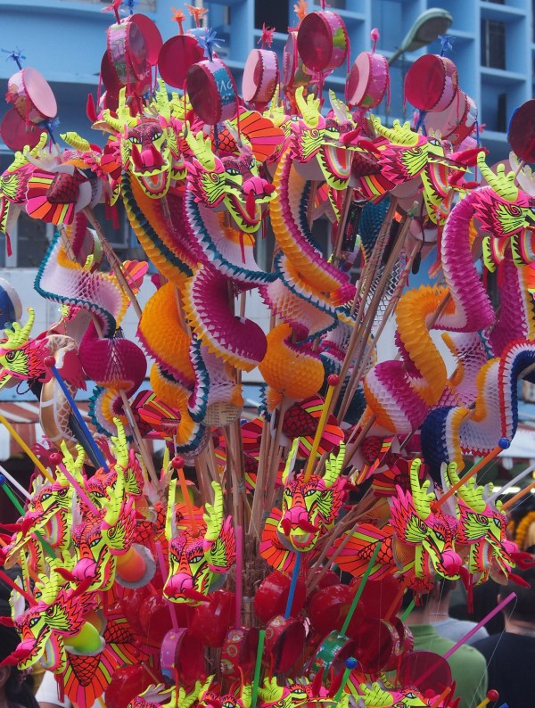 Lots of colour, fireworks, costumes, masks and of course the dragons