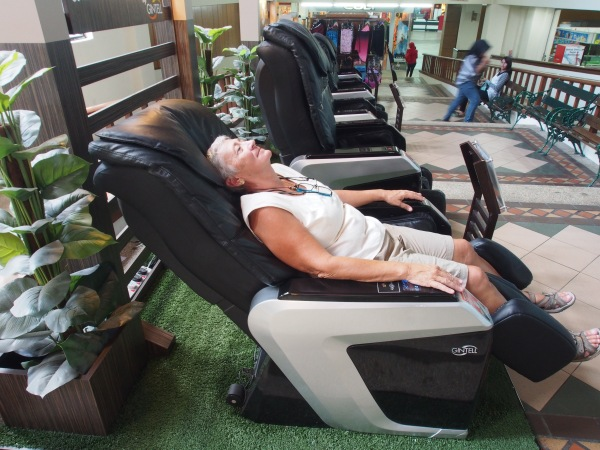 After a long hard morning of sanding and varnishing it's off to the massage chair at the mall!