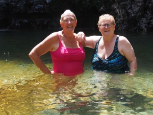 Connie and Sandy at the waterfall