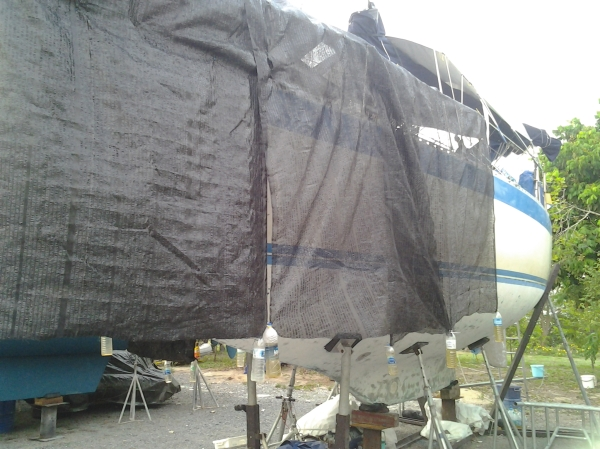 Shadecloth is magic to cover the boat. Keeps it cooler and protects the fiberglass and the decks