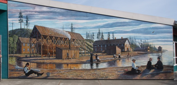 Old Port Angeles in mural style