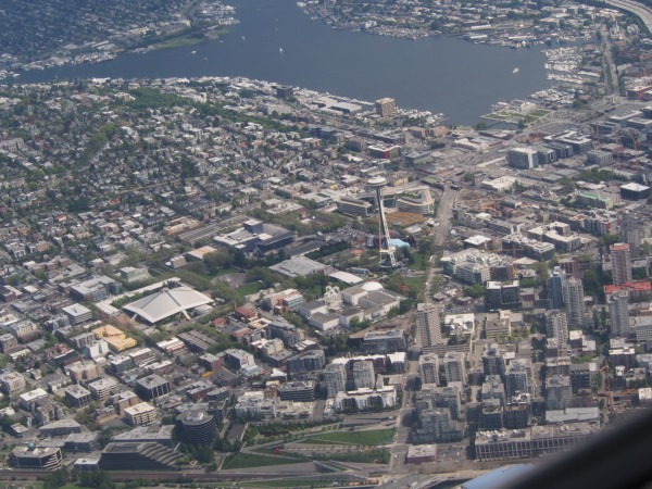 Flying over Seattle