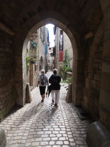 Strolling the streets of St. Antonin down to the Saturday market