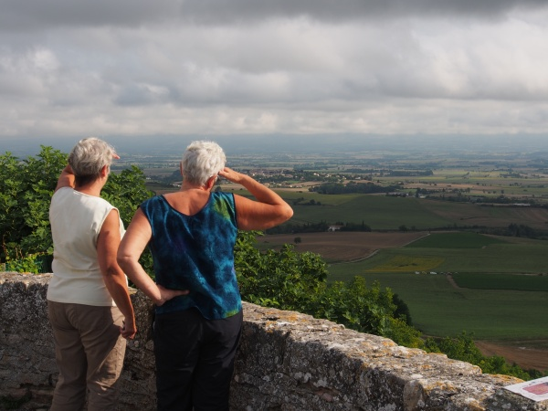 Sue and Connie gaining the high ground to ensure no-one is following us and we are going in the right direction