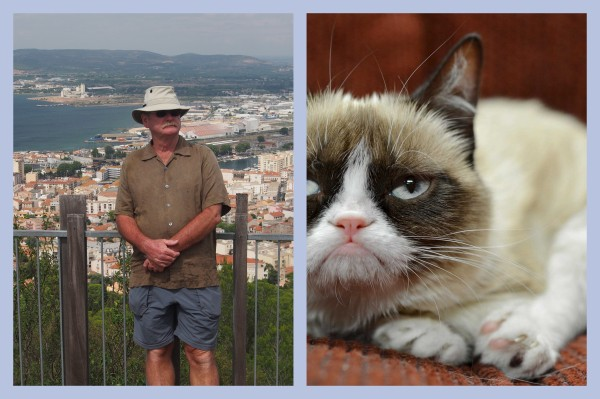 Who looks grumpier. Me, after walking up that damn hill or, grumpy cat?