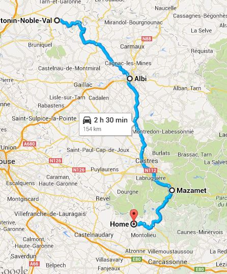 Our route - St. Antonin Noble Val to Saissac