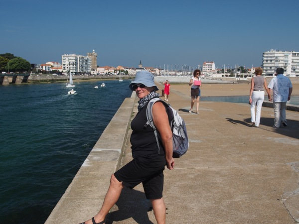 Connie on the breakwater at Les Sable d'Olonne