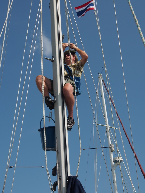 Up the mast for the fifth straight day