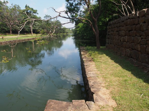After passing through the gateway entrance one crosses a moat that once encircled the site