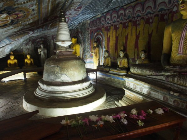 Small stupa inside one of the caves