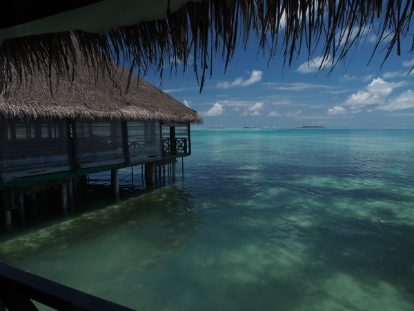 The view from the bar!  The only place in the Maldives to get a drink as it's not available in the stores