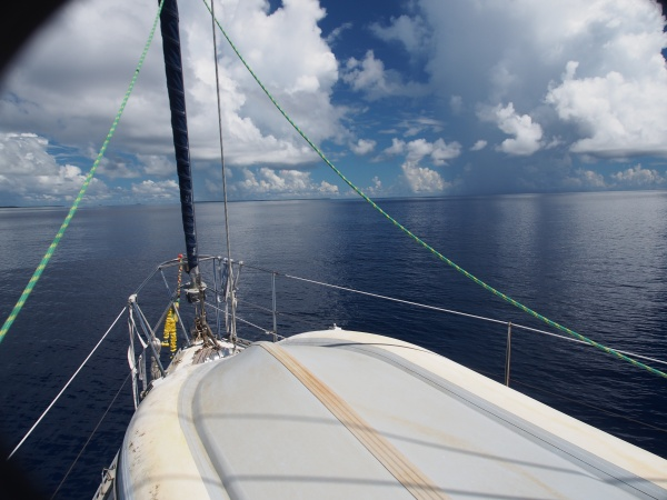 Approaching Chagos - 2 miles out. Notice how difficult it is to see the land