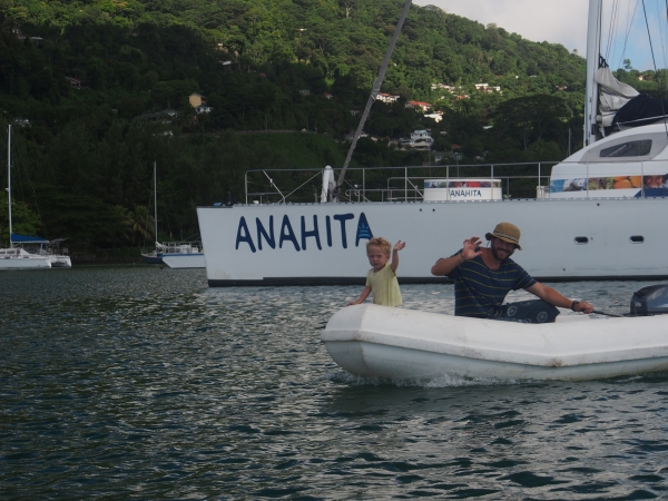 Anahita and two other cruisers from Mexico in the anchorage -