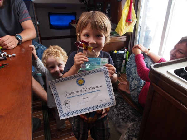 Rio with his trophy for the smallest fish caught in the tournament
