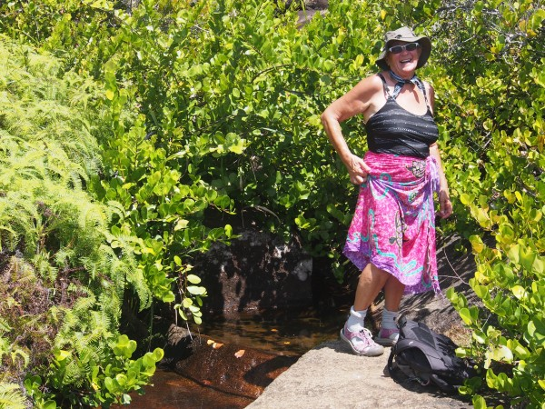 For those hikes where cool waterfalls or streams are available it's always handy to have a wrap to use after bathing. Connie hard on the slopes