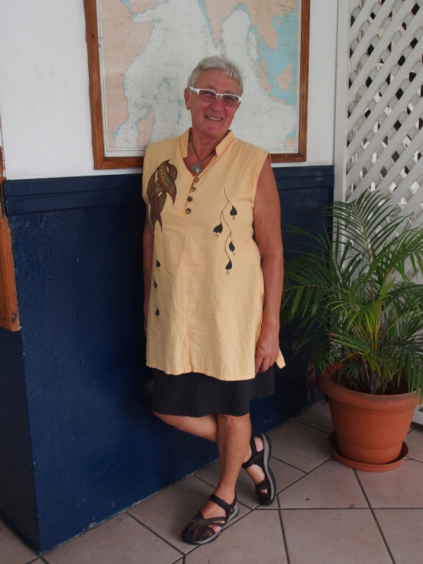 Connie fashions a hand embroidered top from Sri Lanka, shoes by Keens