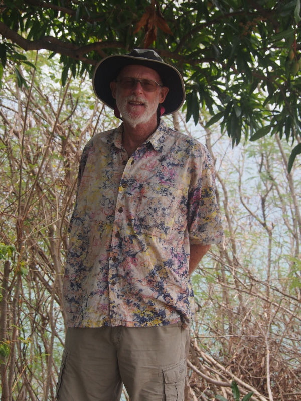 Second in the 'men' pack is Dave sporting a Fijian cotton print with Tilley shorts