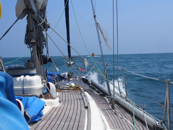 Under tow at 6.5 knots and all to windward