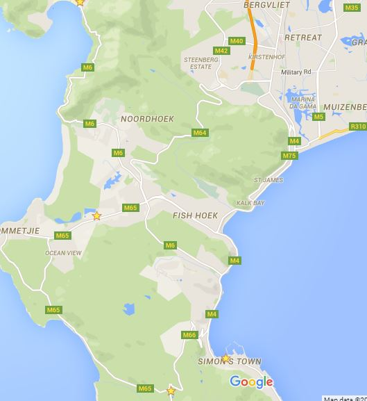 Part of the cape peninsula from Simons Town to Muzenburg