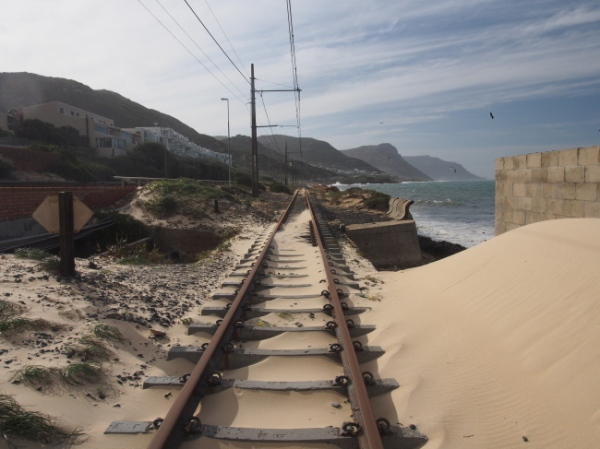 The railway line from Simon's Town which runs along the oceanside of False Bay and then into Cape Town