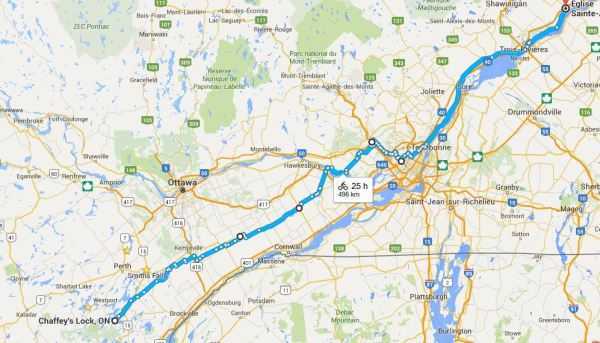Motorcycle Route from Chaffey's Locks to