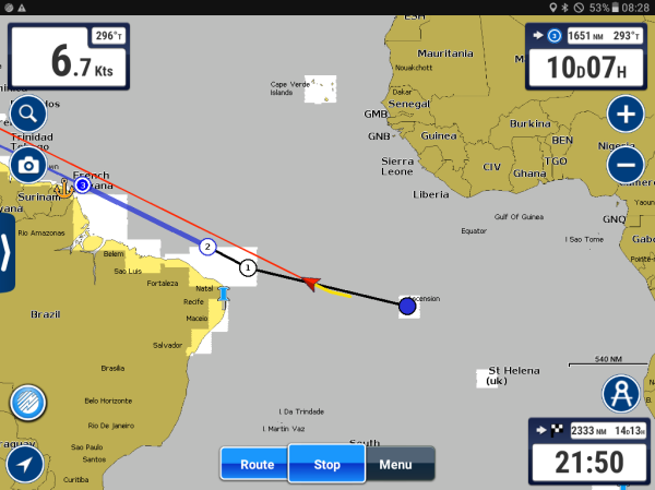 Our routing from Ascencion to Trinidad